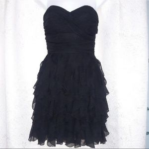 B. Darlin Heart Neck Black Strapless Ruffle Dress